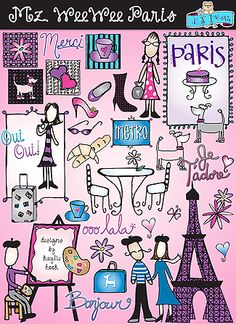 BONJOUR from DJ Inkers! This charming Parisian clip-art collection is full of character, French sayings & landmarks... and accessories galore!   Go to product: http://www.djinkers.com/mzweewee_paris.html