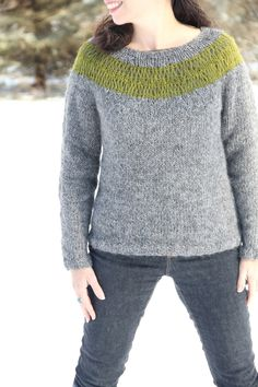 Lopi Sweater Mashup by Laura Nelkin Stopover Sweater by Mary Jane Mucklestone combined with an elongated stitch yoke.