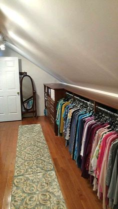 If I ever have an attic. Make the most of your attic -- even with sloped ceilings and short knee walls -- you can turn it into a massive closet! attic storage, walk-in closet design ideas, attic conversion, space saving ideas Attic Closet, Closet Bedroom, Closet Space, Attic Wardrobe, Garage Attic, Attic Office, Short Wardrobe, Dormer Bedroom, Attic Library
