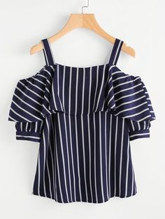 SheIn offers Open Shoulder Layered Striped Top & more to fit your fashionable needs. Teen Fashion Outfits, Trendy Outfits, Girl Fashion, Girl Outfits, Fashion Dresses, Cute Outfits, Womens Fashion, Cheap Fashion, Fashion Black