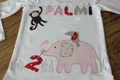 """Langarmshirts - Kinderlangarmshirt """"Rosa Elefant"""" mit Name&Zahl - ein Designerstück von milla-louise bei DaWanda"""