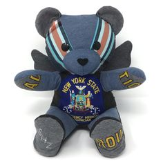 A beautiful memorial angel bear for a fallen hero. Memorial Ornaments, Memorial Gifts, Teddy Bear Sewing Pattern, Angel Bear, Memory Bears, Curious Cat, Baby Keepsake, One Clothing, Handmade Felt
