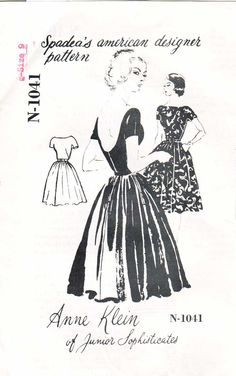 50s Anne Klein Circle Skirt Bare Back Dress Sewing Pattern 33 34 Bust Spadea N-1041. $32.00, via Etsy.