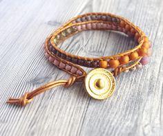bracelet cuir marron femme, bracelet double tour : Bracelet par cocoflower