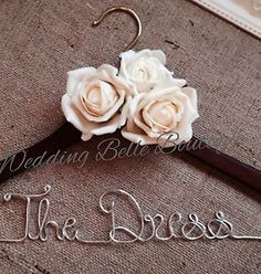 Personalised Wedding Dress Coat Hanger With Roses in Any Colourany Wording❤bride for sale online Diy Wedding Hangers, Wedding Dress Hanger, Wedding Dresses, Wedding In The Woods, Wedding Hair And Makeup, Coat Dress, Wedding Supplies, Bride Gifts, Maid Of Honor