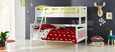 Aztec+Single+Bunk+(White)+-+Make+the+most+of+any+space+with+the+funky+Aztec+Single.+Also+available+as+a+double+or+trio+bunk+bed. Pictured+in+White. Also+available+in+Walnut Trio Bunk Beds, Bunk Bed Sets, White Bunk Beds, Double Bunk Beds, Metal Bunk Beds, Modern Bunk Beds, Kids Bunk Beds, Childrens Bedroom Furniture, Kids Bedroom