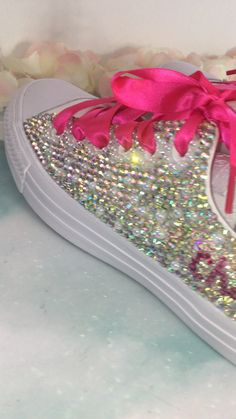 Crystals By Nicole- Converse Prom Bridal Exotic Shoes & Sneakers Sparkle Shoes, Bling Shoes, Bling Bling, Wedding Tennis Shoes, Bridal Shoes, Pearl Shoes, Rhinestone Shoes, Custom Made Converse, Bridesmaid Shoes Flat