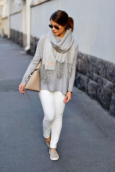 fall / winter - street style - street chic style - fall outfits - casual outfits - comfy outfits - neutral layers - neutral outfits - grey sweater + grey scarf + aviator sunglasses + nude handbag + nude sneakers + white skinny jeans