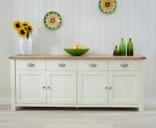 Somerset 4 Door 4 Drawer Oak and Cream Sideboard
