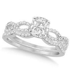 Infinity Cushion-Cut Diamond Bridal Ring Set 18k White Gold (0.88ct), Women's, Size: 9.5