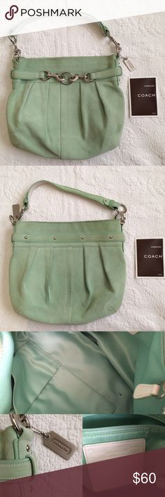 Coach Mint Green Suede Handbag - Coach - Mint Green Suede Bag - Silver hardware - Preloved.  - Ink stain inside bag - Suede discoloration and imperfections on front and back noted in photos.  - Height 13in. Width at widest part 14in.  - Effortlessly chic, Boho Style, Casual Cool, and Basic Wardrobe Essential - No Trades Coach Bags Shoulder Bags