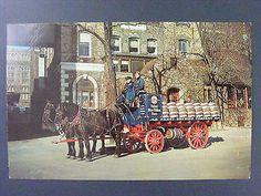 Pabst Blue Ribbon Beer Horse Drawn Wagon Kegs Milwaukee Vintage Postcard 1950s
