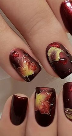 51 Cute Thanksgiving Nail Art Designs For Fall Season Thanksgiving Nail Designs, Thanksgiving Nails, Thanksgiving Ideas, Fingernail Designs, Nail Polish Designs, Nails Design, Gel Polish, Nagel Hacks, Fall Nail Art Designs