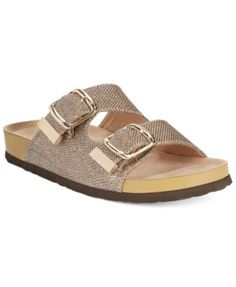 White Mountain Horizon Footbed Sandals-Sparkly Birkenstocks Sandals-but in silver