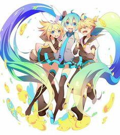 ¡Vocaloid! Miku, Len and Rin.