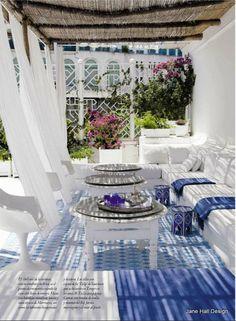 Mediterranean Porch Love the colors, the materials, the natural fibers...
