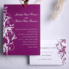 Purple Vintage Pattern Wedding Invites VPN161 [VPN161] - $0.00 : Cheap Wedding Invitations Free Response Card & Printed Envelops @ V.P