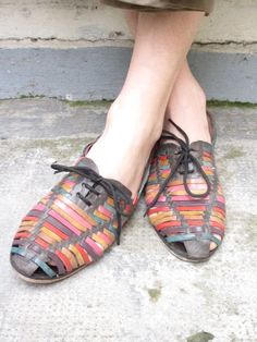 Authentic Original Handmade from Mumbai vtg leather woven flat lace up shoes/ ballerinas  COLOURFUL leather sz 38, UK 5, US 7,5