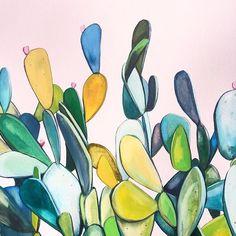 'Cactus Sky' original oil painting of cactus by Kate Jarman