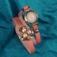 Redeem this Stunning Pink Floral  Pearl charm Bracelet Analog Watch  for FREE only on LooksGud.in #LooksGudReward #