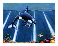 "Orca with Baby Own a Fine Art Reproduction Usually ships in 1-2 days Giclee: 20"" x 24"" produced on heavy acid - free watercolor paper Photographic Print: 20"" x 24"" produced on archival photographic paper Our Price: $47.99"