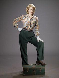 bomb girls - betty wears pants! hurrah!