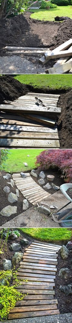 THIS CAN BE DONE IN SO MANY WAYS, i CAN INVISION A GEO SITTING AREA OR SOME SORT OF PATTERN OR DESIGN Alternative Gardning: How to build a wood walkway