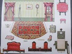 1970's/new mcloughlin bros miniature paper dining room cut outs & doll postcard | #704403903 Paper Doll House, Paper Houses, Diy Dollhouse, Dollhouse Furniture, Hobby House, Sleeping Beauty Castle, Barbie Toys, Paper Models, Printable Paper