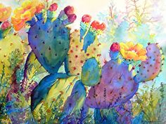 Portfolio of Works: Watercolor Cactus Originals Cactus Drawing, Cactus Painting, Watercolor Cactus, Watercolour Painting, Cactus Decor, Cactus Art, Cactus Flower, Lama Animal, Watercolor Images