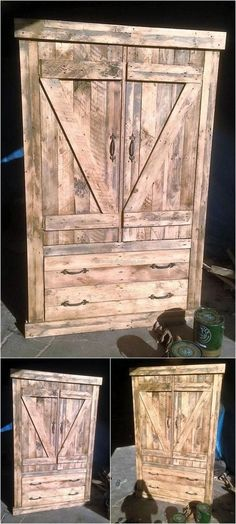 Now here is an idea for creating the rustic look pallet closet, it is not always necessary to place the painted items in the bedroom to make it look different. The creations like this one also make the room look attractive.