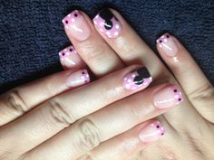 Minnie Mouse nails in honor of my daughter 1st birthday