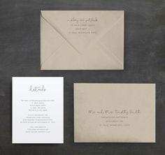 Minimal Script Wedding Invitation Suite by QuiteFetchingInvites