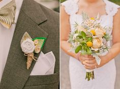 Groom wearing a DIY boutonniere and stripped and polka-dot gray bow tie.  (left photo); bride carrying yellow billy balls, succulents, peach pink roses and lambs ear bridal bouquet (right photo)