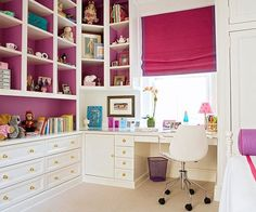 love the idea of using a colorful roman blind in an area where a curtain would be awkward and in the way.