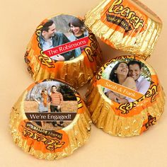 Hershey's Reese's - Photo Collection (Set of 50). Picture it! Add an extra special personalized touch to these Hershey®'s Reese's by featuring a photo of your choice on these sweet creamy peanut butter chocolates! Each Reese's has one line of personalized text and choice of color to accent your event. Place them in a bowl on each reception table, or put them in a bag with our Photo Hershey®'s Chocolate Bars® or Assorted Miniatures® to make the perfect favor to send home with your...