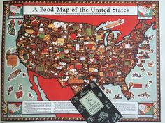 This cool food map was advertised in Woman 's Day Oct. 7, 1937. We're looking for a copy!