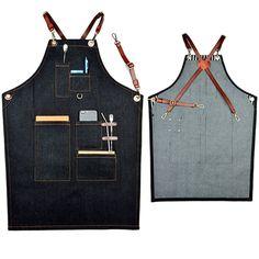 Black Denim Bib Apron w/ Leather Strap Barber Barista Florist Baker Bar Chef Uniform Tattoo Shop Craft-men Home BBQ Workwear K17