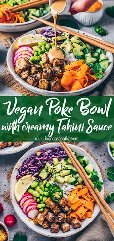This Vegan Poke Bowl with crispy tofu and creamy Tahini Sauce is a simple recipe that's healthy, gluten-free, customizable and so delicious! Add your favorite variety of rice or even noodles, colorful crunchy vegetables, and tofu, edamame beans or chickpeas for plant-based protein, you'll have the perfect satisfying rainbow bowl for lunch or dinner! #pokebowl #veganbowl #veganrecipes #vegetarian #recipes #food #vegan #rice #chinesefood #foodrecipes #tahinisauce #avocado #tahini #carrotlox #... Vegetarian Recipes Dinner, Vegan Dinners, Dinner Recipes, Vegetarian Bowl, Easy Healthy Recipes, Vegan Recipes, Clean Eating, Healthy Eating, Poke Bowl