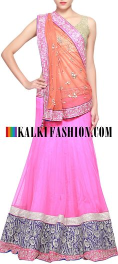 Get this beautiful lehenga here: http://www.kalkifashion.com/pink-lehenga-adorn-in-zari-and-sequence-embroidery-only-on-kalki.html Free shipping worldwide.
