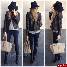 Cute maternity outfit - jeans, heeled boots, leather jacket, and a loose gray t-shirt. I'm all about it.