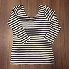 Striped Top New with tags! Cute fitted top with low cut back and 3/4 sleeves. H&M Tops Tees - Long Sleeve