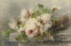 Roosenboom Margaretha. Roze rozen op stenen plin