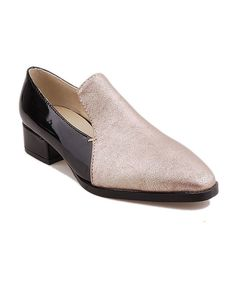 Golden Color Block Design Point Toe PU Flat Shoes