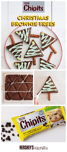 O Christmas Tree, O Christmas Tree! How yummy are your CHIPITS. #BakeItEasy with creative CHIPITS Brownie Christmas Trees and creamy CHIPITS Semi-Sweet Chocolate Chips. Easy Christmas Treats, Noel Christmas, Christmas Goodies, Christmas Desserts, Simple Christmas, Holiday Treats, Holiday Recipes, Christmas Tree Brownies, Holiday Baking