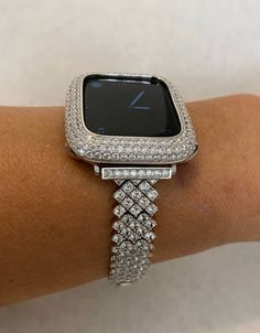 Custom Apple Watch Bands, Apple Watch Bands Fashion, Silver Apples, Apple Watch Accessories, Silver Labs, Lab Diamonds, Rose Gold Jewelry, Fashion Watches, Crystal Rhinestone