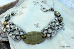 Vintage Art Deco Rhinestone and Brass Dog Tag Bracelet...Chip
