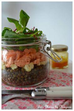 Salade de lentilles en bocal Le bon mix : lentilles + saumon + tomates + feuilles de salade