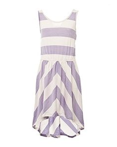 Max  Bean Big Girls Summer Lilac White Stripe Casual Dress XL 14yrs -- Click on the image for additional details.
