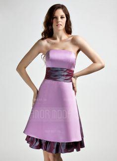 Empire Strapless Knee-Length Taffeta Satin Bridesmaid Dress With Sash (022015800)