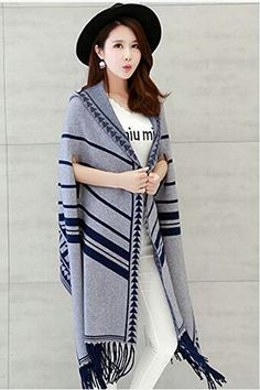 Morality Charm Scarf With Hat Coat The Tassel Long Sweater Cardigan Poncho Shawls at Amazon Women's Clothing store: